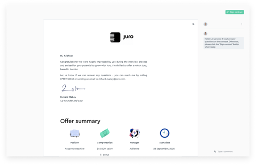 Juro offer letter template
