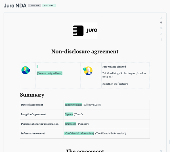 contract template in Juro